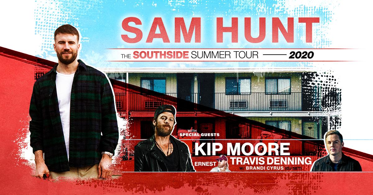 Sam Hunt, Kip Moore & Travis Denning at Darling's Waterfront Pavilion
